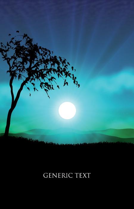 free vector Vector grass trees sunset sky