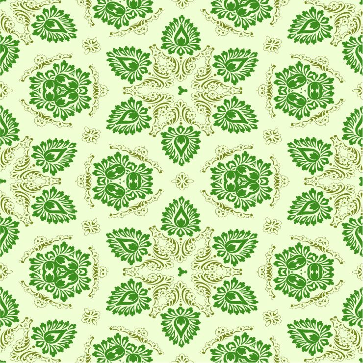 free vector Vector Green Seamless Floral Ornament