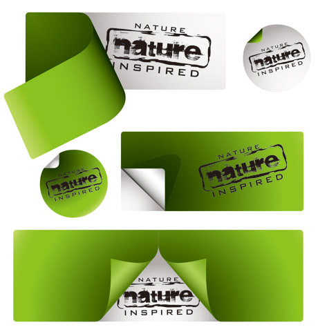 free vector Vector green stickers