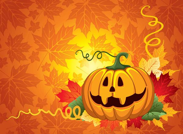 free vector Vector halloween pumpkin spider black cat