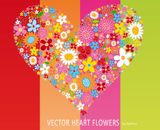 free vector Vector HEART Flowers