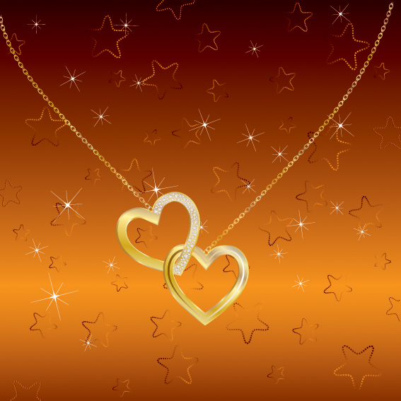 free vector Vector heartshaped pendant necklace