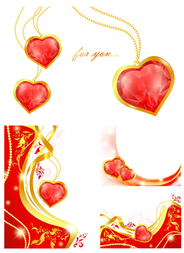 free vector Vector heartshaped pendant