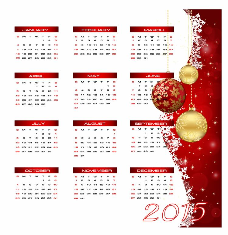 free vector Vector illustration. 2015 new year calendar