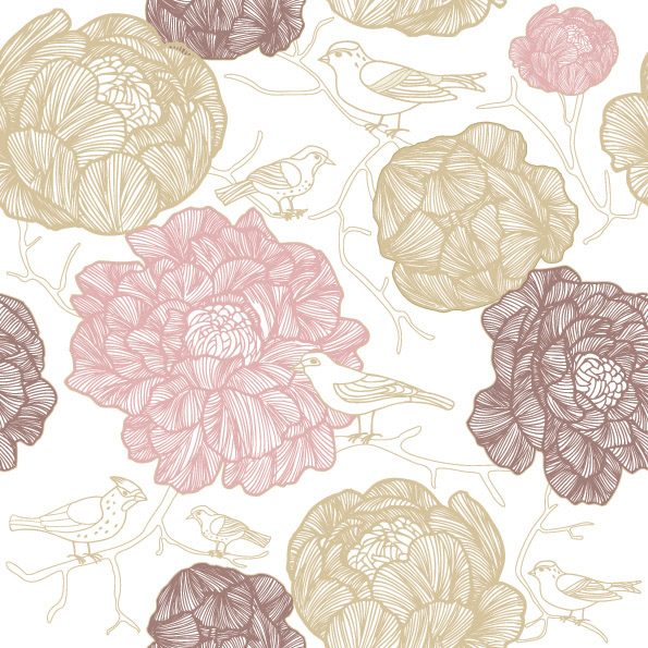 free vector Vector line drawing fashion flowers background