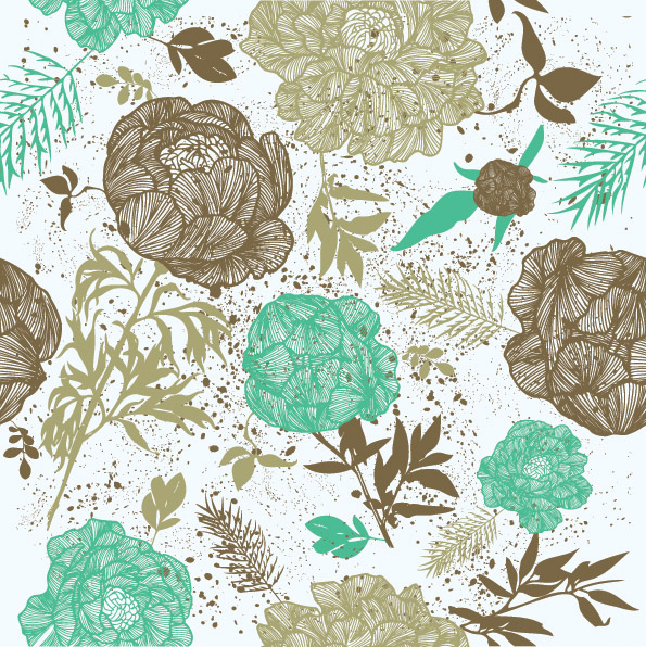 Vector Line Drawing Fashion Flowers Background Free Vector