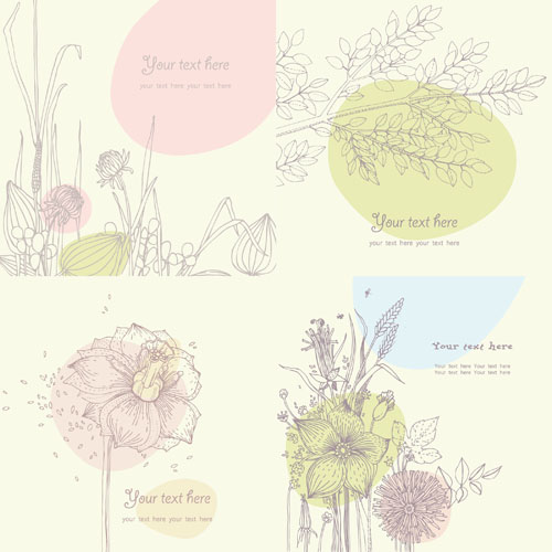 free vector Vector Line Drawing Floral Flower Flowers Pattern