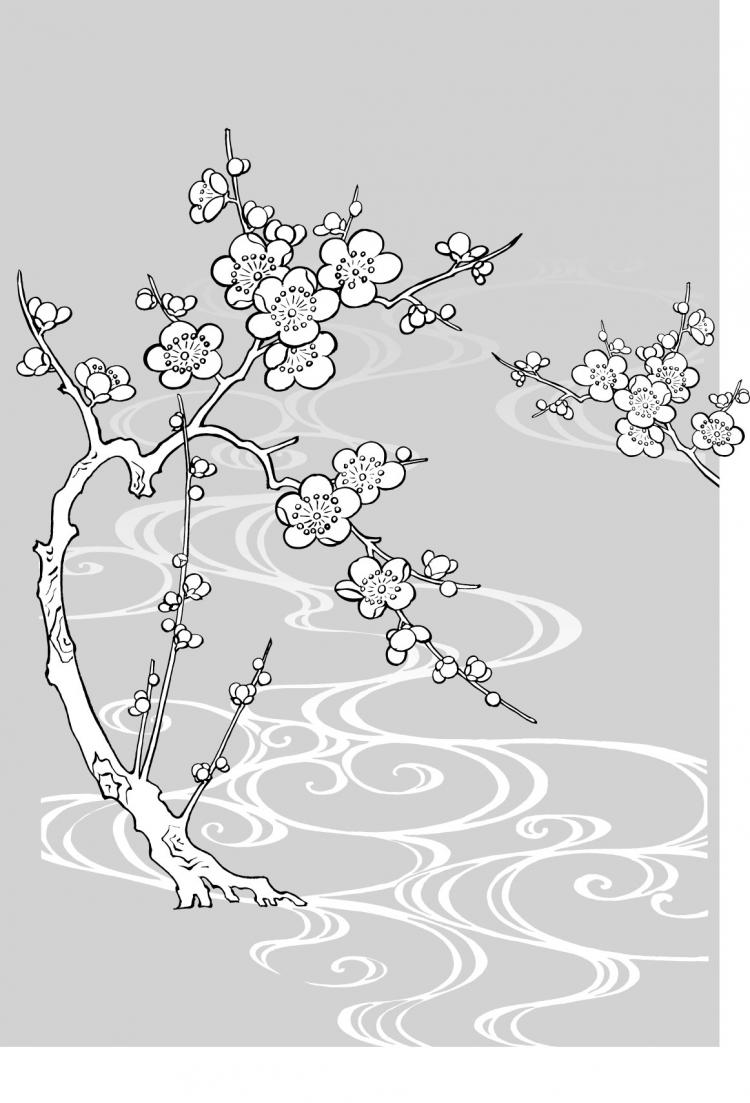 Line Drawing Water : Vector line drawing of flowers plum blossom flowing