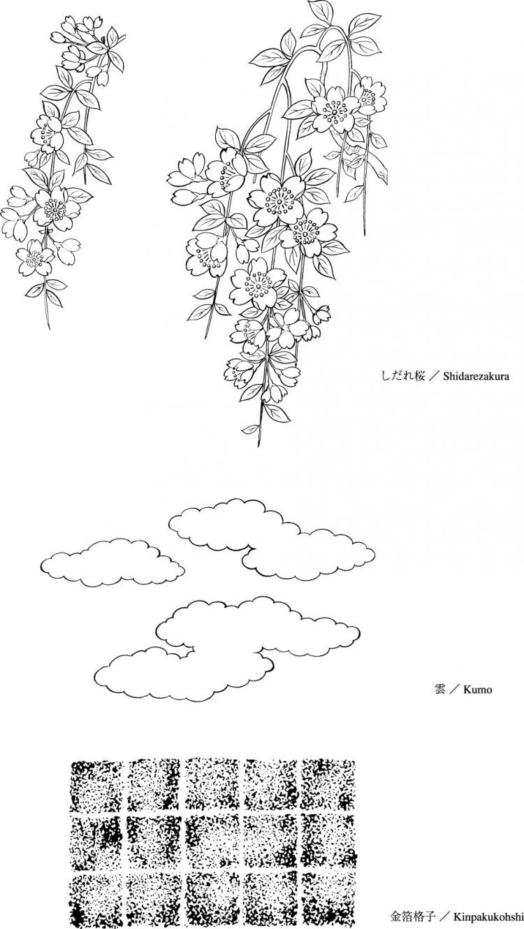 free vector Vector line drawing of flowers-38(Cherry blossoms, clouds, gilded lattice)