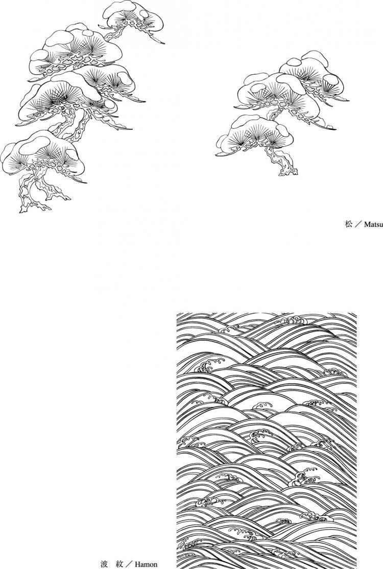 free vector Vector line drawing of flowers-45(Pine, Moire)