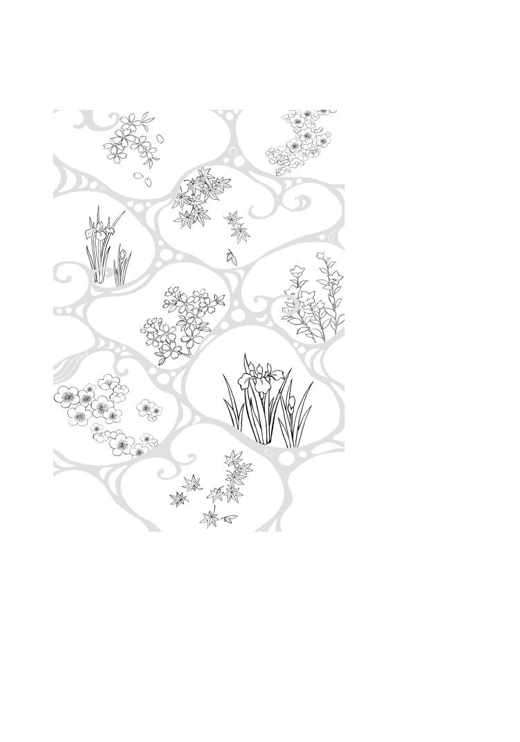 free vector Vector line drawing of flowers-47(Flowing water, flowers, leaves)