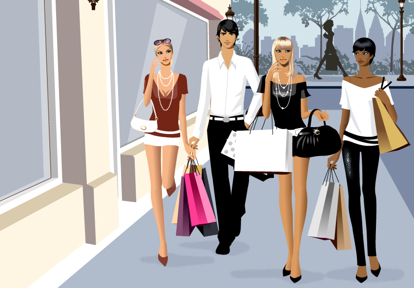 free vector Vector material men and women fashion shopping