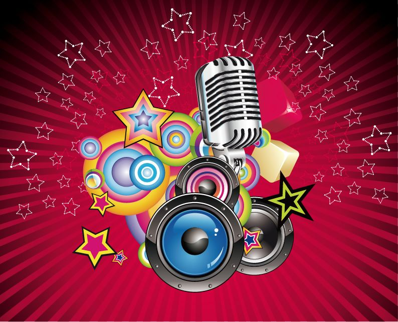 free vector Vector Music Background with Speaker and Microphone