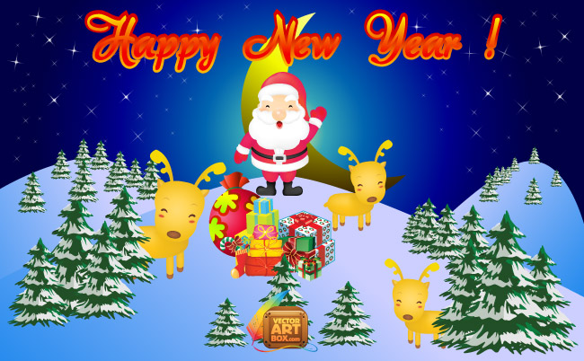 free vector Vector New Year Card