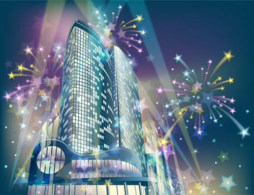 free vector Vector night city bright