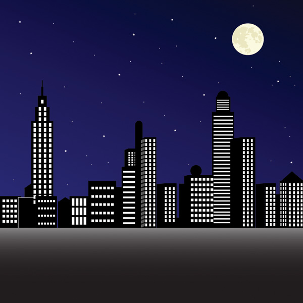 free vector Vector night city under
