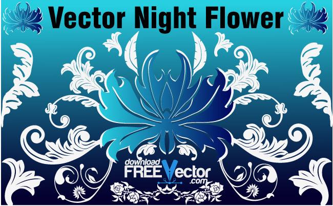 free vector Vector Night Flower