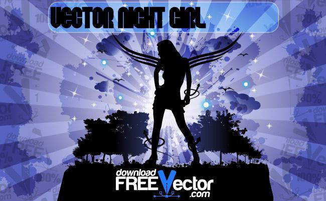 free vector Vector Night Girl