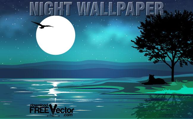 free vector Vector Night Wallpaper