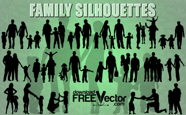 free vector Vector of Family Silhouettes