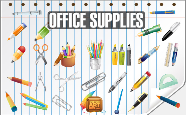 free vector Vector Office Supplies