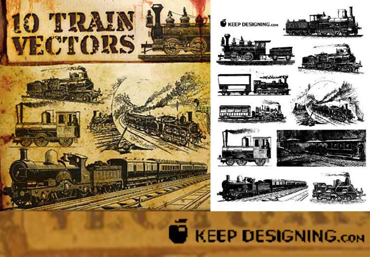free vector Vector old European train