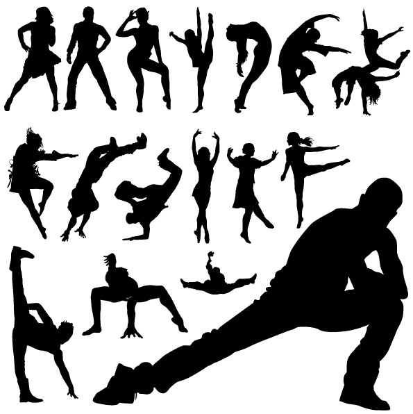 free vector Vector People silhouette dance moves material