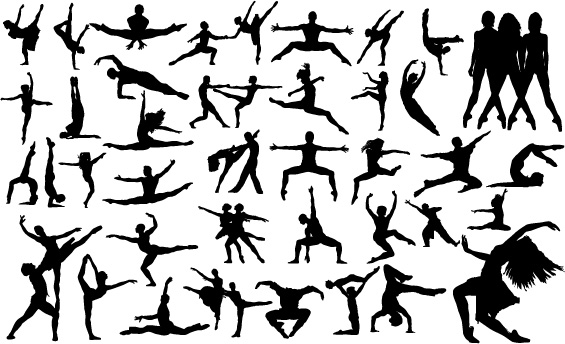 free vector Vector People silhouette dancing