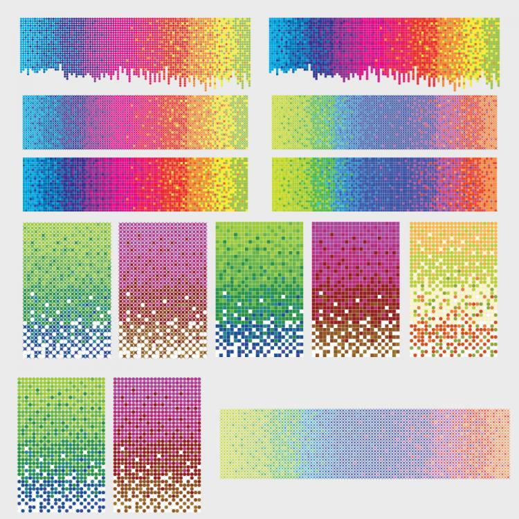 free vector Vector rainbow background color dot material