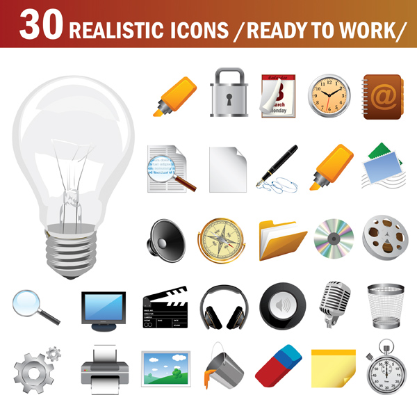 free vector Vector Realistic Icon Set