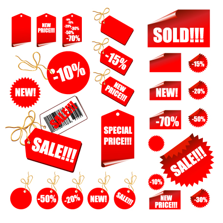 Vector Red Decoration Materials Sales Price Free Vector