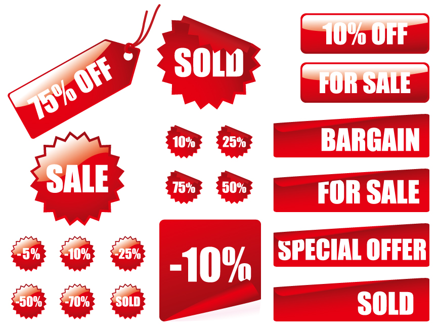 free vector Vector red decoration materials sales price