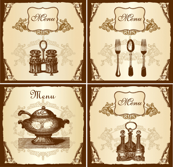 free vector Vector retro tableware menu
