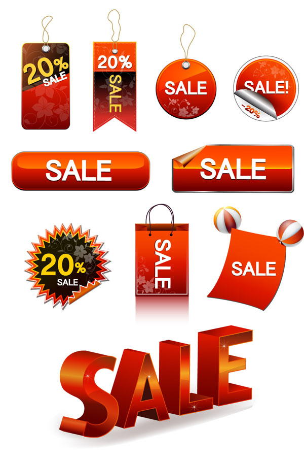 free vector Vector sale discount tag button