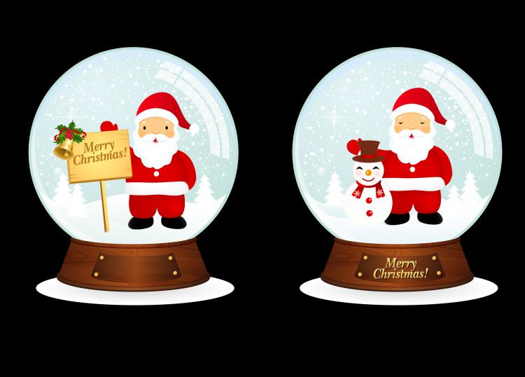 free vector Vector Santa Christmas Snowballs