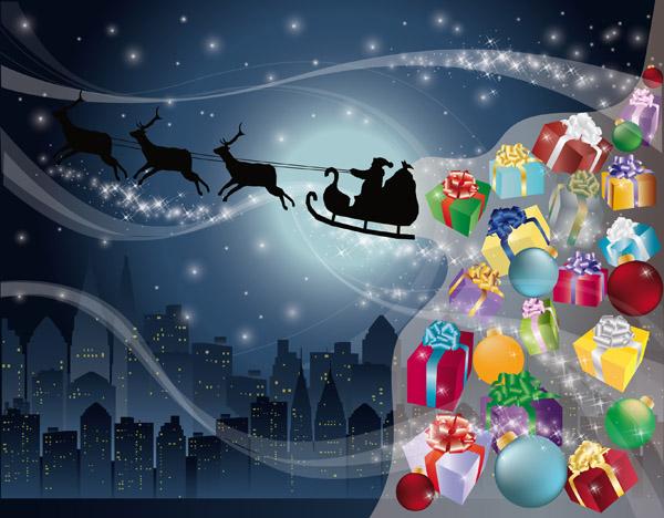 free vector Vector santa claus gifts