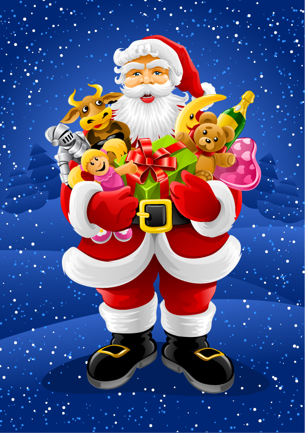 free vector Vector santa claus holding gifts