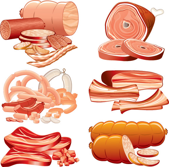 free vector Vector sausage meat