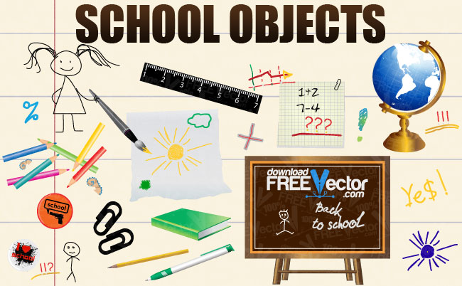 free vector Vector School Objects