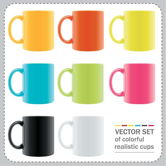 free vector Vector Set of Colorful Realistic Cups