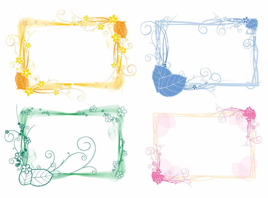Vector Set of Floral Frames Free Vector / 4Vector