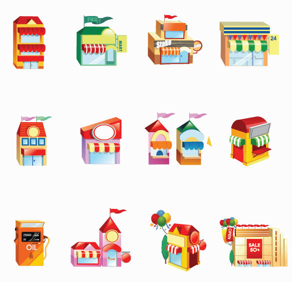 free vector Vector Shop Building Icon Set