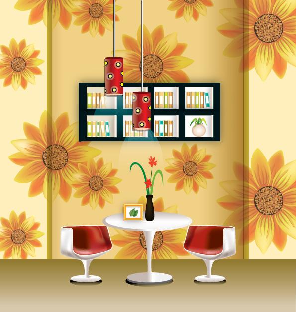 free vector Vector stylish wallpaper chandelier home decor
