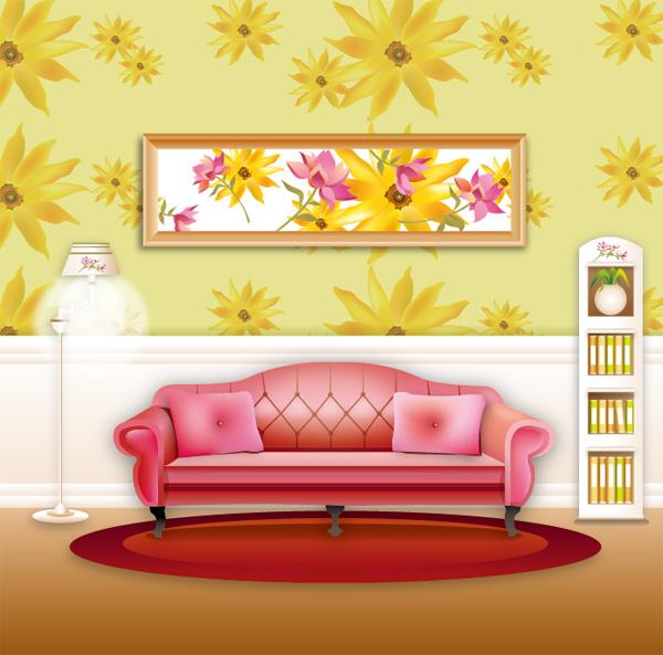 free vector Vector stylish wallpaper home living room sofa