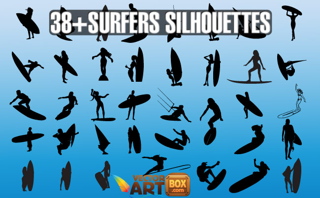 free vector Vector Surfers Silhouettes