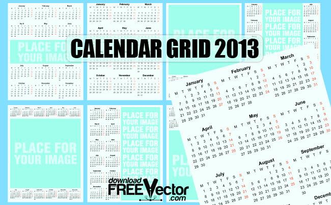free vector Vector Template Calendar 2013