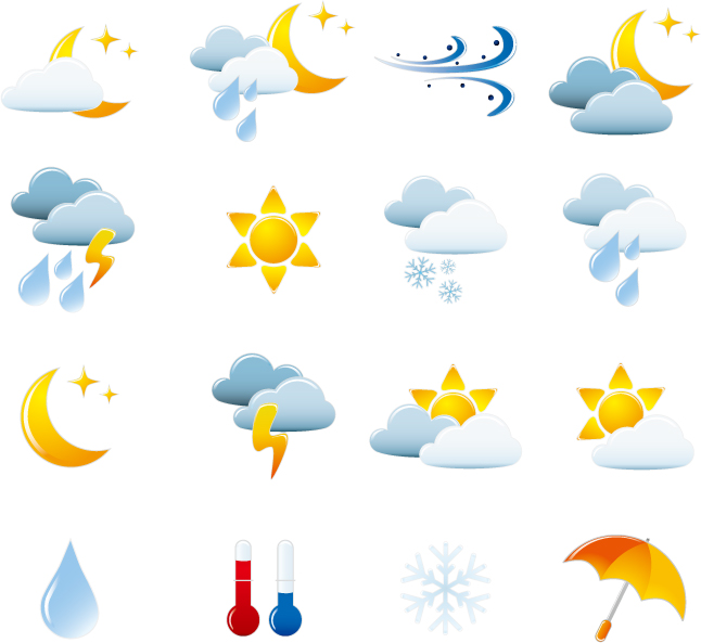 free vector Vector Weather & Travel Icons