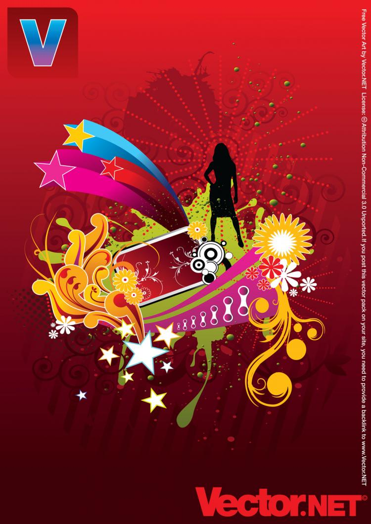 free vector Vector Woman Silhouette on Abstract Flower Background