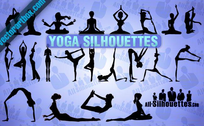 free vector Vector Yoga Silhouettes