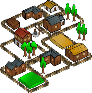 Village clip art (110227) Free SVG Download / 4 Vector